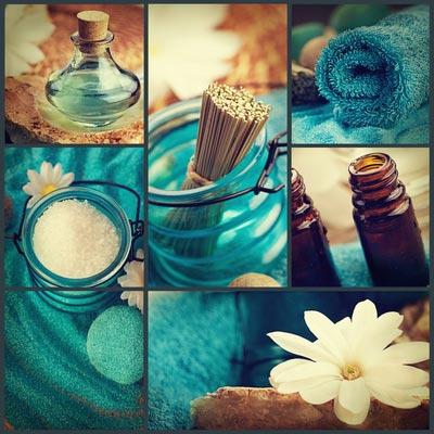 Impressionen: Massageöl, Duft, Handtuch, Blume